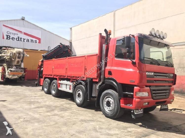 Camión daf caja abierta cf85 430 8x4 euro 3 grúa usado