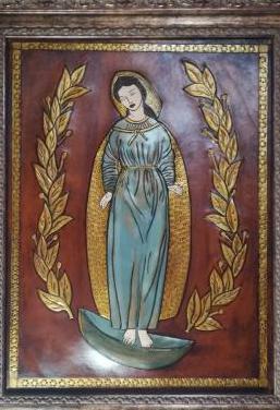 Cuero repujado virgen inmaculada