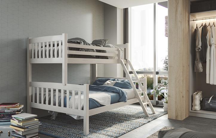 Litera maciza con cama de matrimonio nueva de fabrica