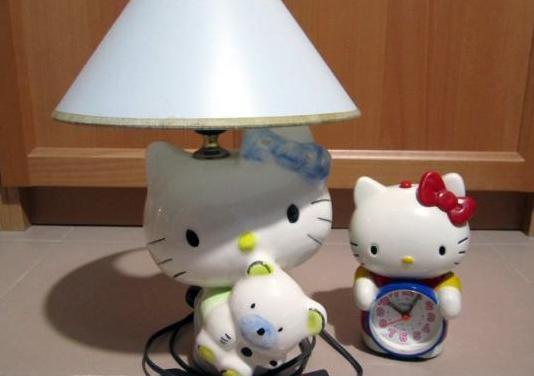 Lámpara y reloj hello kitty