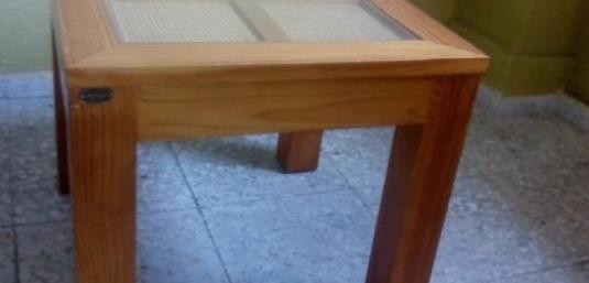 Mesa madera maciza cerezo y cristal