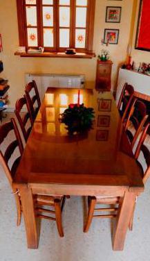 Mesa rústica madera maciza y seis sillas