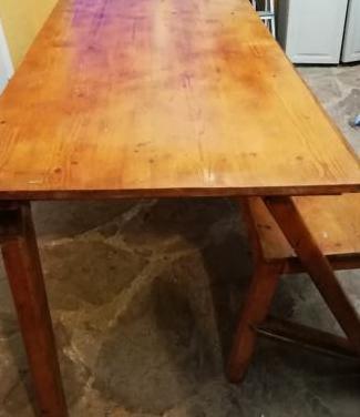 Mesa y banco plegables madera maciza