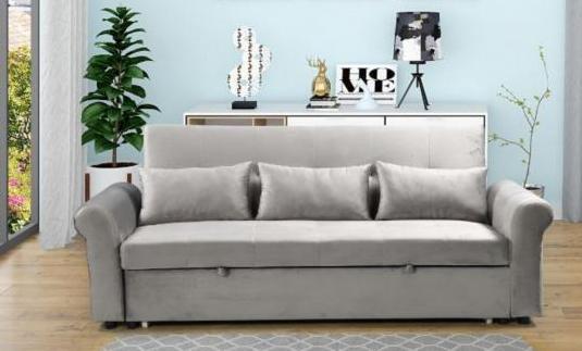 Sofá cama 3 plazas tapizado en tela terciopelo