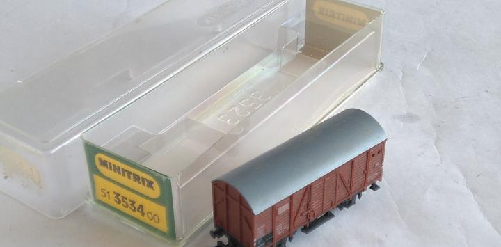 Trix minitrix vagón carga cerrado en caja, válido