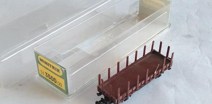 Trix minitrix vagón carga telero en caja, válido