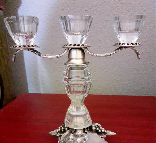 Candelabro 3 velas diseño italiano realizado con cristal