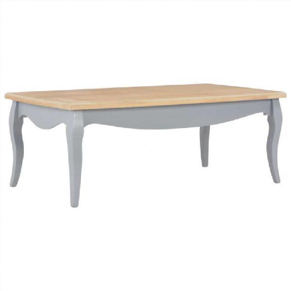 Mesa de centro madera maciza de pino gris y marró