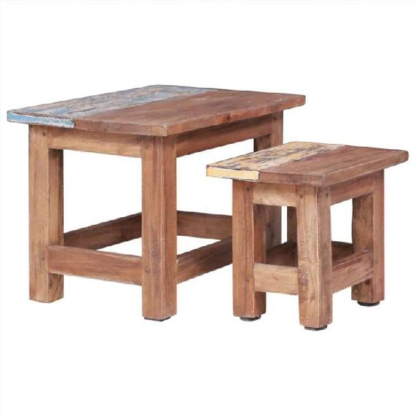 Mesas apilables 2 unidades mesa maciza reciclada