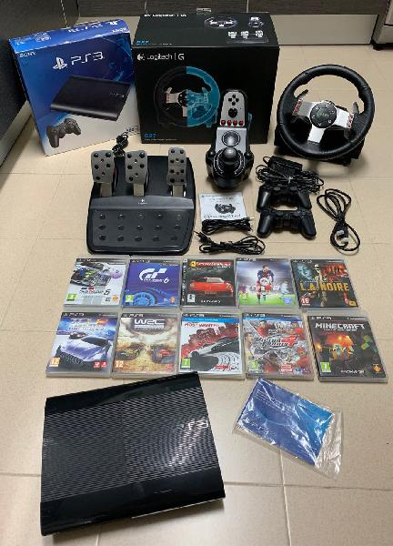 Play station 3 + volante logitech g27 + 10 juegos