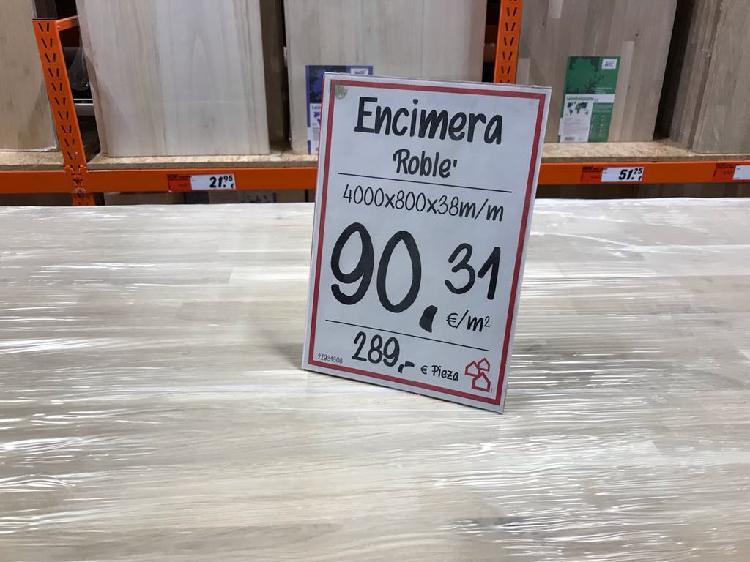 Roble macizo 220 x 80 x3.8cm tablero encimera mesa