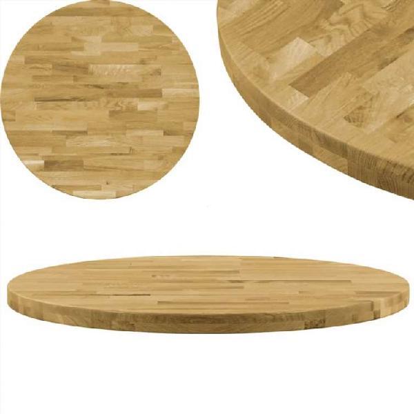 Superficie de mesa redonda madera maciza de roble
