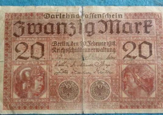 Alemania, billete 20 marcos 1918