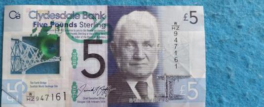 Escocia, billete 5 pounds 2016 polimero