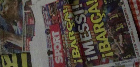 Periódicos triplete fc barcelona