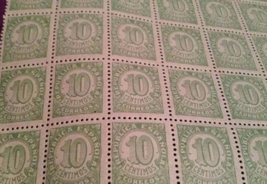 Sello republica española - 10 centimos