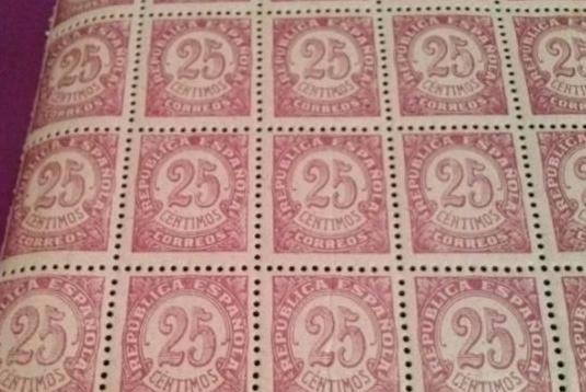 Sello republica española 25 centimos