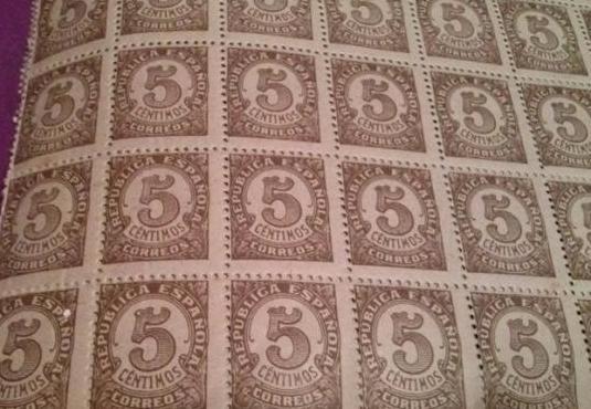 Sello republica española 5 centimos