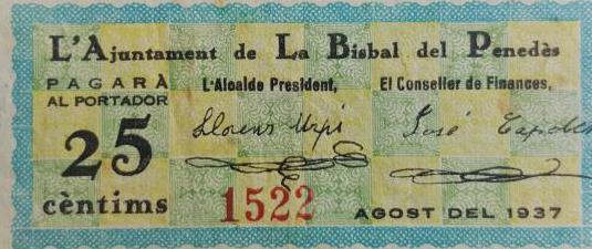 billete de la bisbal del penedes 25 centimos