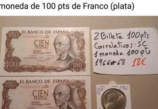 Dos billetes y una moneda