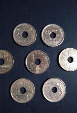 Lote monedas 25 pesetas juan carlos