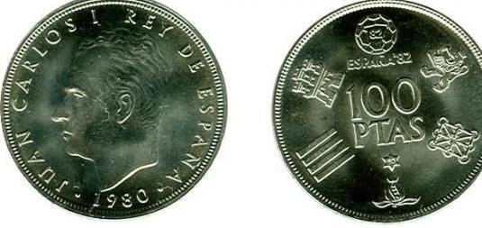 Moneda 100 pesetas rey juan carlos i 1980
