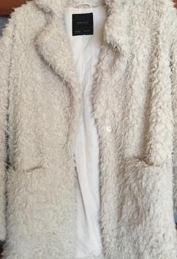 Abrigo pelo blanco zara txs