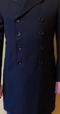 Abrigo de lana con forro azul oscuro t-xl