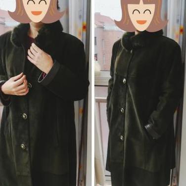 Abrigo de mujer, piel de ante, talla 44