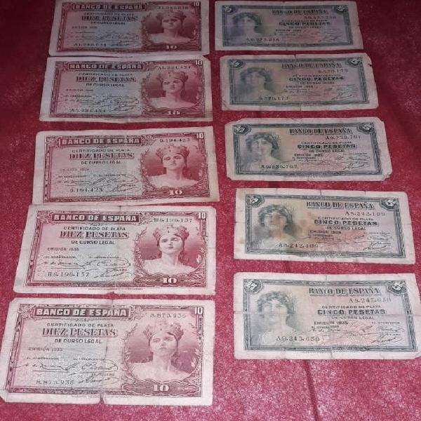 Billetes 10 y 5 pesetas república española