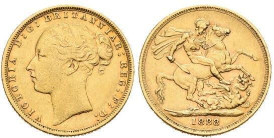 Moneda de oro año 1888