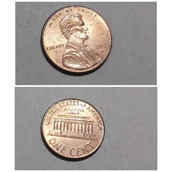 Moneda one cent de estados unidos 2002