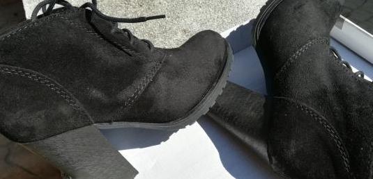 Nuevos] botines negros piel. n 36