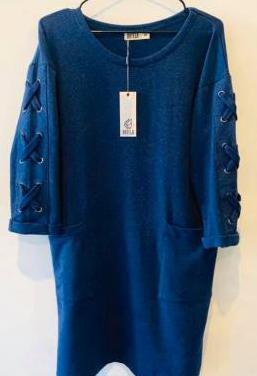 Vestido batela algodón azul marino