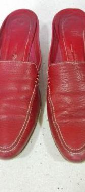 Zapatos mule piel rojos bruno paoli