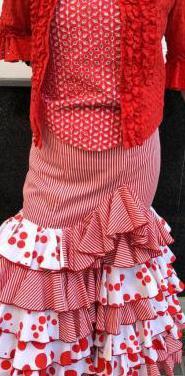 Traje de flamenca rojo talla 40