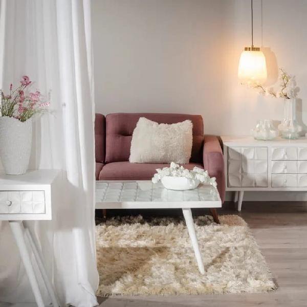 Mesa centro madera blanco grabada base cristal dis