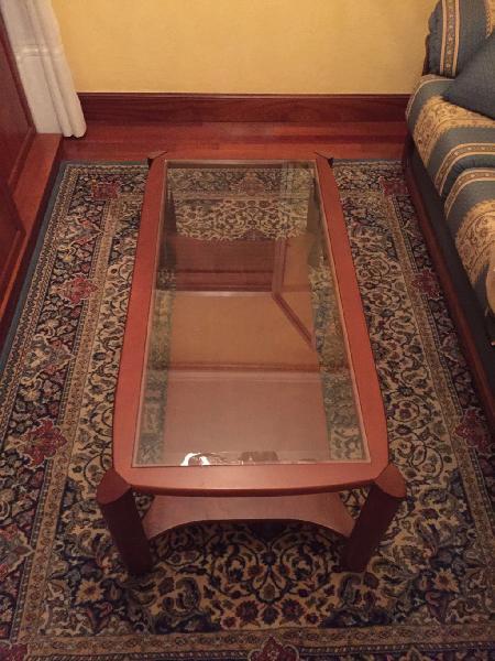 Mesa de madera/cristal