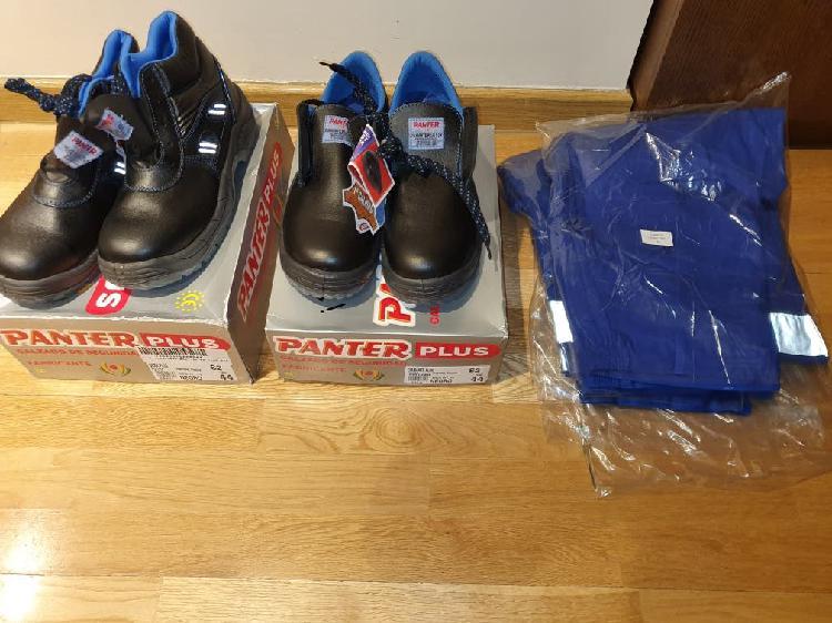 Pantalones de trabajo y zapatos-botas seguridad