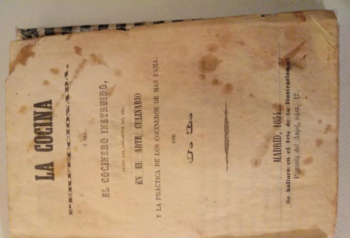 Año 1854 madrid libro recetas cocina