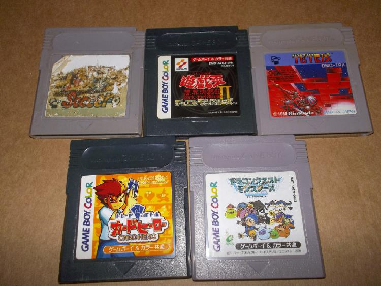 GAMEBOY LOTE SOCCER,TETRIS,CARD HERO, DRAGON QUEST MONTERS Y