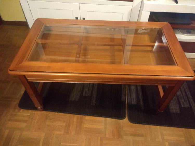 Mesa centro madera maciza elevable 60x100 cm