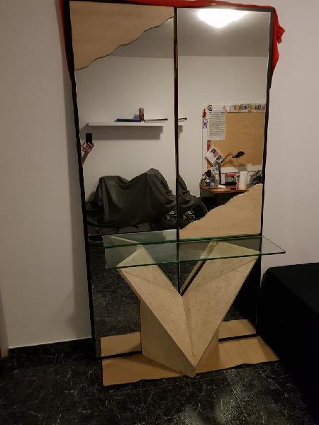 Recibidor piedra natural con espejo