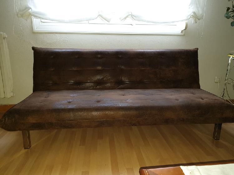 Sofá cama marrón piel maisons du monde se vende so