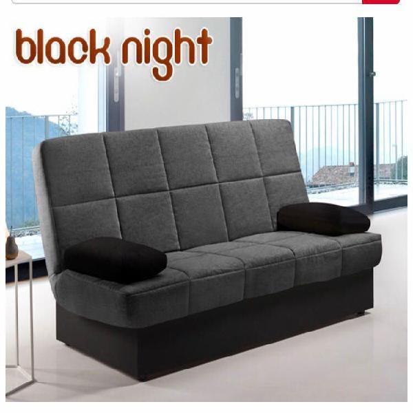 Sofá cama color gris oscuro y negro