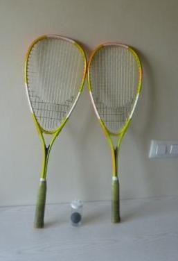 Lote de fundas y raquetas de tenis y squas