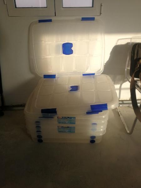 5 caja ordenación plástico con ruedas 75*55*16 cm,