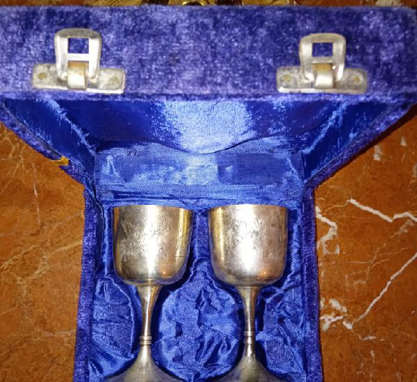 Antiguas copas de plata alemana - con grabados - años