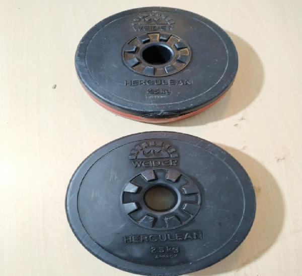 Lote de dos discos de peso de 2,5 kg (aprox) weider