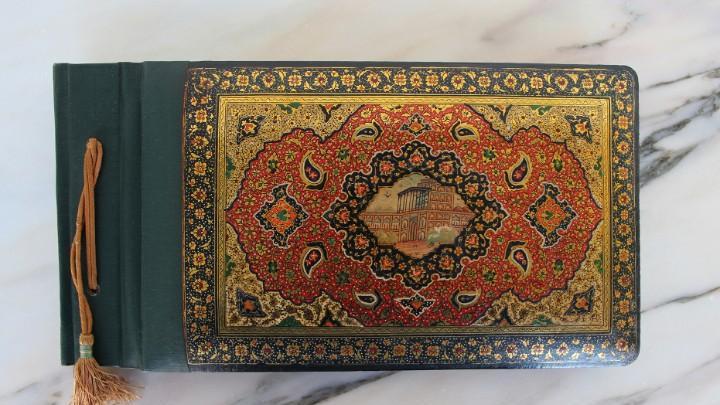 Antiguo álbum de fotos de laca persa qajar artesanal circa: